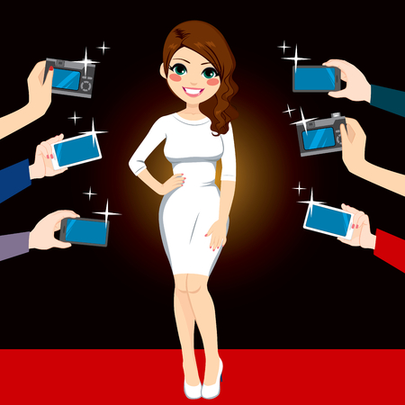 Beautiful young famous woman posing on red carpet for paparazzi photographing with cameras and smartphones