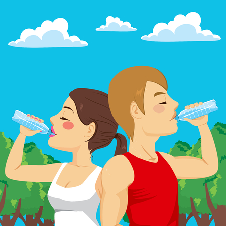 exhaustion: Sport man and woman couple drinking from water bottle