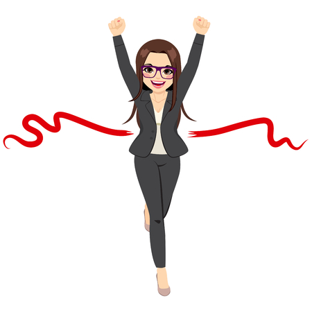 Illustration of beautiful businesswoman winner in business race competition success concept