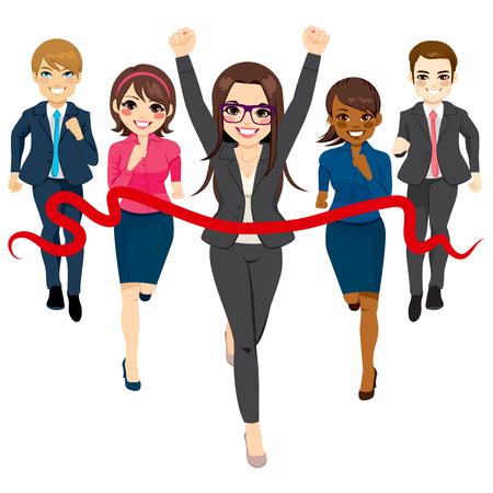 Illustration d'un groupe de gens d'affaires en cours d'exécution compétition de course avec une belle femme d'affaires gagner la course dans le concept de réussite Vecteurs
