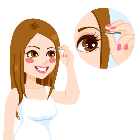 tweezers: joven ceja depilaci�n Mujer hermosa con pinzas de metal