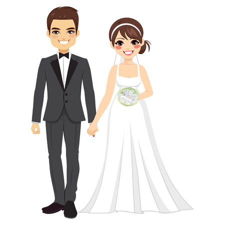 Beautiful young bride and groom couple holding hands on wedding day Vectores