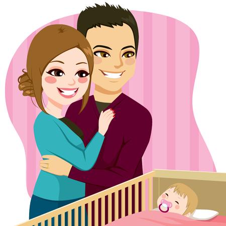 Leuk ouders paar het letten op kleine baby slapen rustig in voederbak met fopspeen Vector Illustratie