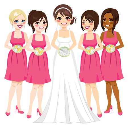 Belle jeune mariée avec un groupe d'amis de demoiselle d'honneur Banque d'images - 56673412