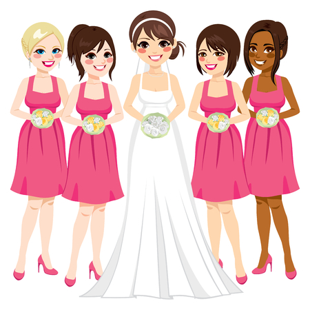 Beautiful young bride with friends bridesmaid group