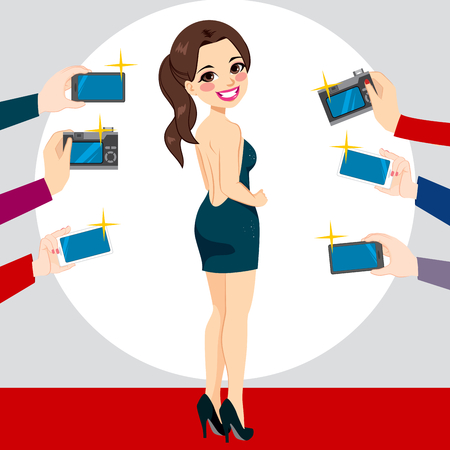 famous actress: Beautiful young famous woman back view posing on red carpet for paparazzi photographing with cameras and smartphones Illustration