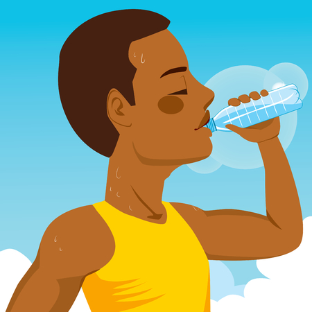 man drinking water: African American young runner sport man drinking bottled mineral water