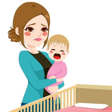 Giovane madre assonnato stanco consolare il suo piccolo bambino che piange Vettoriali
