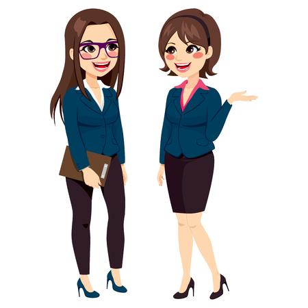 gossiping: Two beautiful businesswomen team standing talking of business