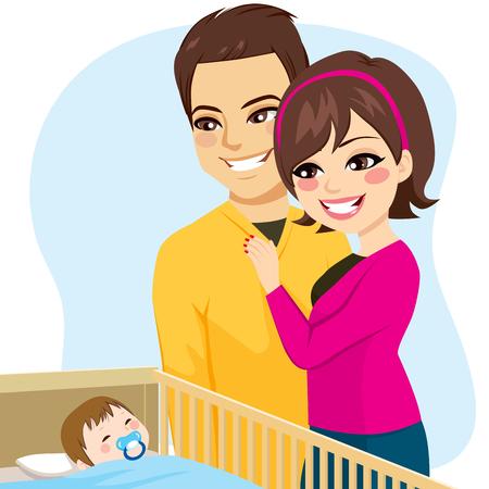 귀여운 부모는 젖꼭지와 침대에서 평화롭게 자고 작은 아기를보고 커플