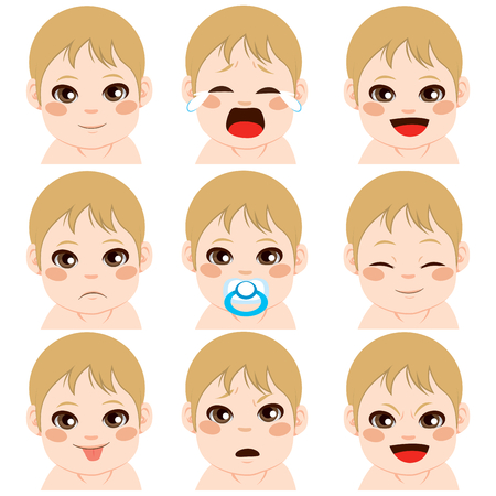face of baby: Sweet cute little boy on nine different facial expressions