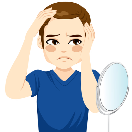 baldness: Male looking in a mirror worried about hair loss