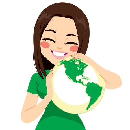 green little planet earth: Young teenager girl hugging world with ecology concept
