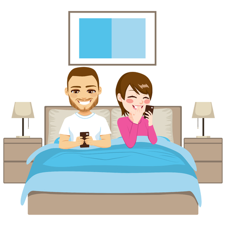woman lying in bed: Young couple on bed using smartphone in addiction concept Illustration