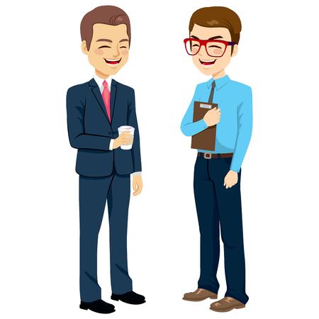 Twee zakenlieden staande praten en chatten op pauze Vector Illustratie