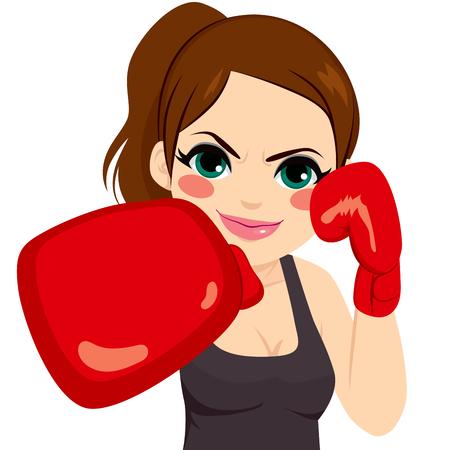 Mujer del deporte del boxeo con guantes rojos luchar