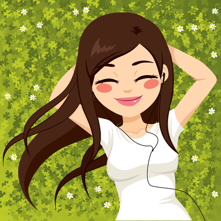 listening: Beautiful brunette woman relaxed lying on grass field listening to music with eyes closed Illustration