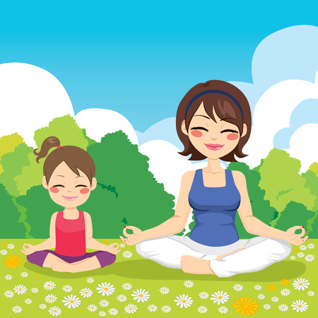Young mother and daughter at park doing yoga exercise
