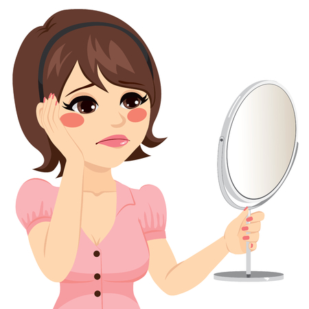 Young woman with sad expression looking herself in a mirror unhappy Illustration