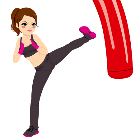 Strong kickboxing woman practicing her powerful kick with red punching bag Illustration