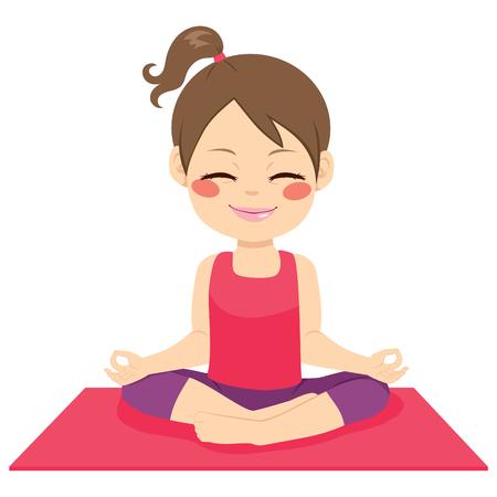 Cute little girl heureux de faire la position zen sur le tapis de yoga isolé sur fond blanc Vecteurs