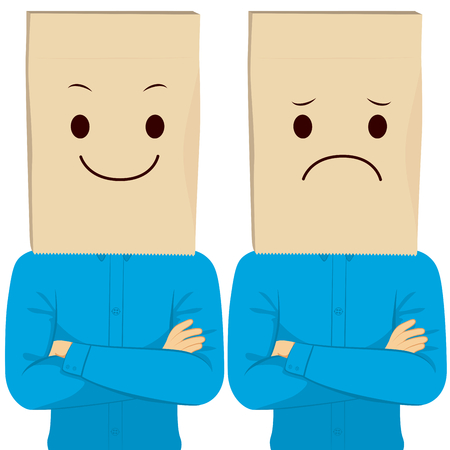 Businessman with crossed arms wearing happy and sad paper bag hiding face