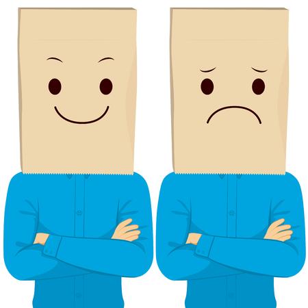 Zakenman met gekruiste armen dragen blij en verdrietig papieren zak ondergedoken gezicht