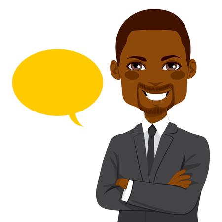 yellow african: Portrait of a young attractive African American confident businessman with yellow blank balloon Illustration