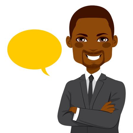 Portret van een jonge aantrekkelijke African American vertrouwen zakenman met gele lege ballon Vector Illustratie