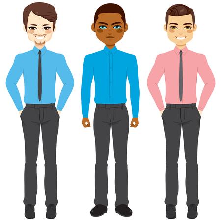 cuerpo hombre: colección pequeño grupo de tres hombres de negocios que usan ropa casual el viernes informal