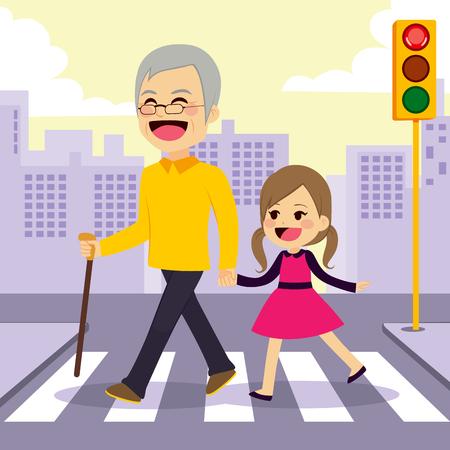 Gelukkig meisje helpt grootvader crosswalking de straat hand in hand