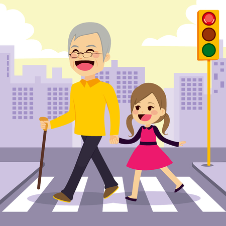 Happy girl helps grandfather crosswalking the street holding hands