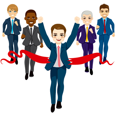 success concept: Group of five business men running race competition with happy businessman winning the race breaking finish line success concept