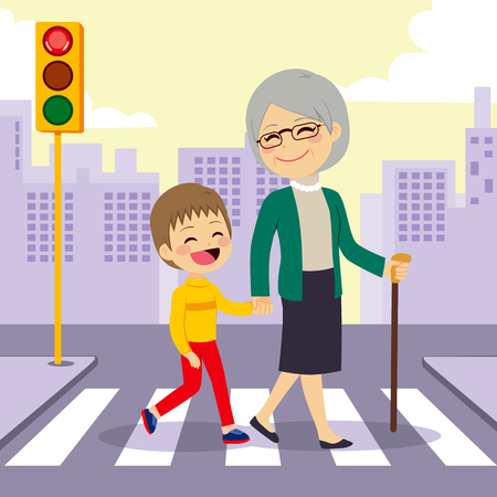Boy helping grandmother crosswalking street holding hands Çizim