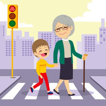 Jongen te helpen grootmoeder crosswalking straat hand in hand