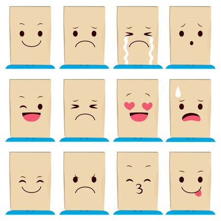 tongues: Collection of person wearing different paper bag mask with face expressions Illustration