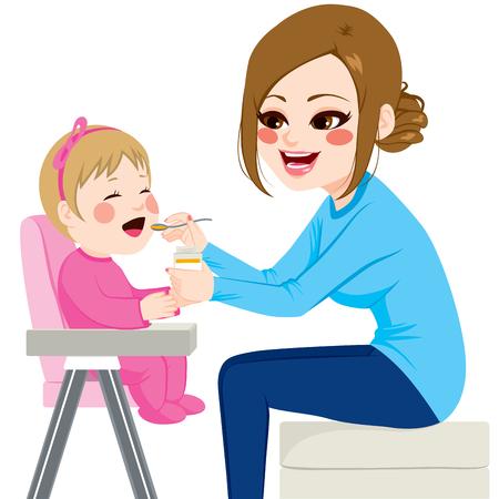 Madre de alimentación bebé con una cuchara sentado en la silla