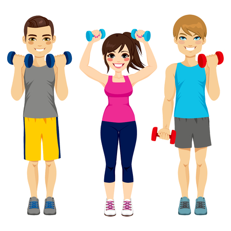 arms up: Small group of people doing fitness sport with dumbbell