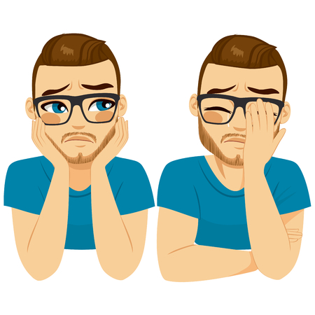Young crying sad man on two different face expressions