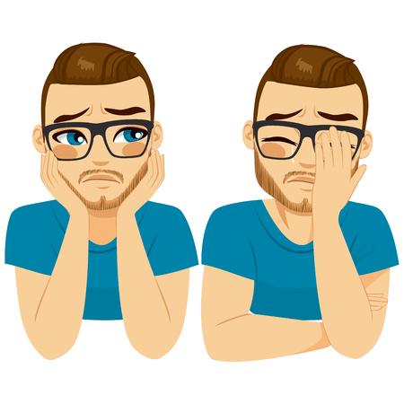 llorando triste hombre joven en dos diferentes expresiones de la cara