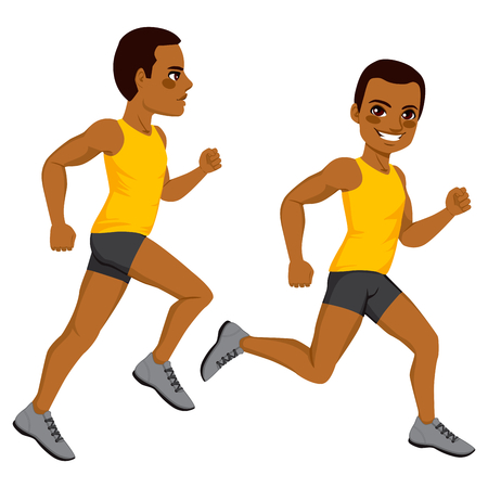 african americans: African American athletic man runner on two different running action isolated on white background Illustration