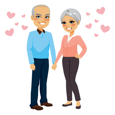pensioner: Cute happy senior couple holding hands in love with pink hearts