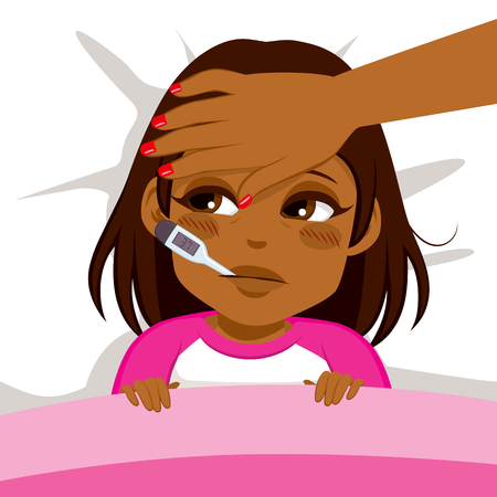 Little African American girl ill in bed with thermometer and mother's head on front