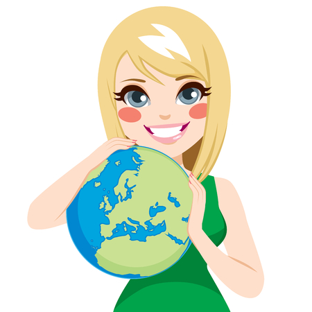 Young beautiful teenager girl hugging world loving earth ecology concept Illustration