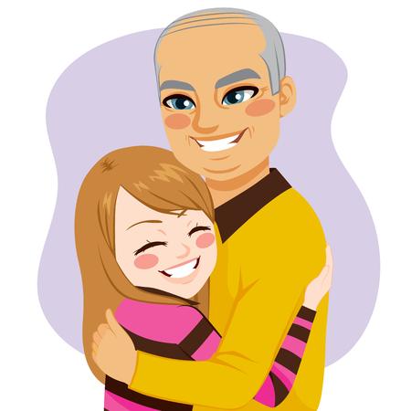 mature men: Cute little lovely girl hugging her dear grandfather