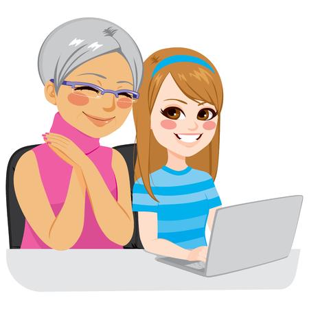 abuela: nieta feliz que ayuda a su abuela el uso de internet con el portátil