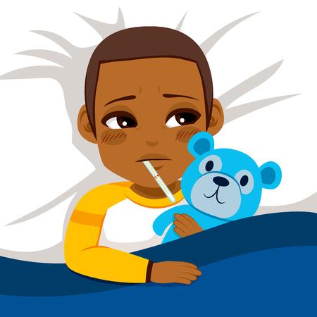 Poco afroamericano niño enfermo en cama con el termómetro y abrazando oso de peluche azul