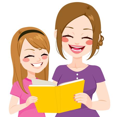 Junge Mutter Lesung mit Tochter Buch zusammen auf weißem Hintergrund isoliert