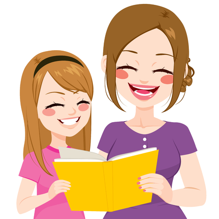 cartoon reading: Young mother reading book with daughter together isolated on white background Illustration
