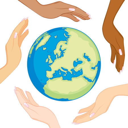 Ecology concept of beautiful diverse women hands surrounding and holding earth in the center